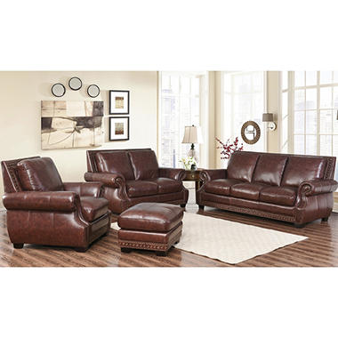 Palisades 100 Top Grain Semi Aniline Leather 4 Piece Set Sam 39 S Club