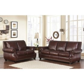 Miraculous Palisades Top Grain Semi Aniline Leather 4 Piece Set Ncnpc Chair Design For Home Ncnpcorg