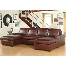 Eiffel Full-Grain Vintage Leather 3-Piece Sectional Sofa