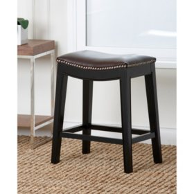 Royal Leather Counter Stool, Dark Brown