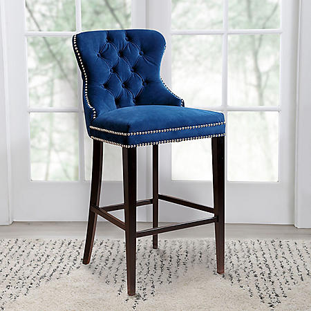 Milano Tufted Bar Stool, Assorted Colors