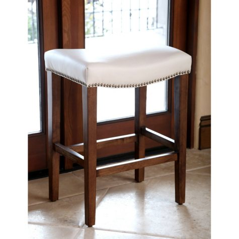 Cedric Leather Counter Stool, Ivory