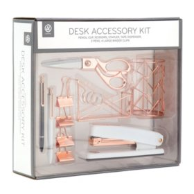 Desk Accessory Organization Kit, Rose Gold