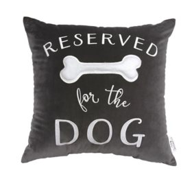 Studiochic Pet Lovers Embroidered Velour Decorative Pillow (Reserved for the Dog)