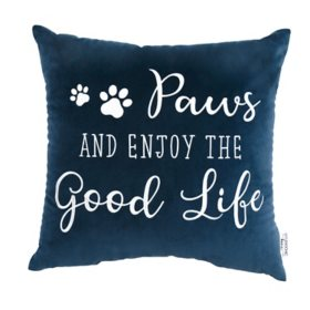 Studiochic Pet Lovers Embroidered Decorative Pillow (Paws and Enjoy the Good Life)