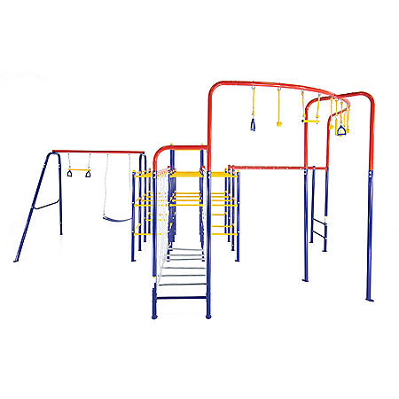 ActivPlay Modular Jungle Gym with Swing Set, Monkey Bars, Hanging Bridge and Hanging Jungle Line Kit