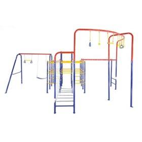 ActivPlay Modular Jungle Gym with Swing Set, Monkey Bars, Hanging Bridge and Hanging Jungle Line Kit