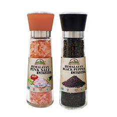 Himalayan Chef Himalayan Pink Salt and Black Pepper Glass Grinder Gift Set