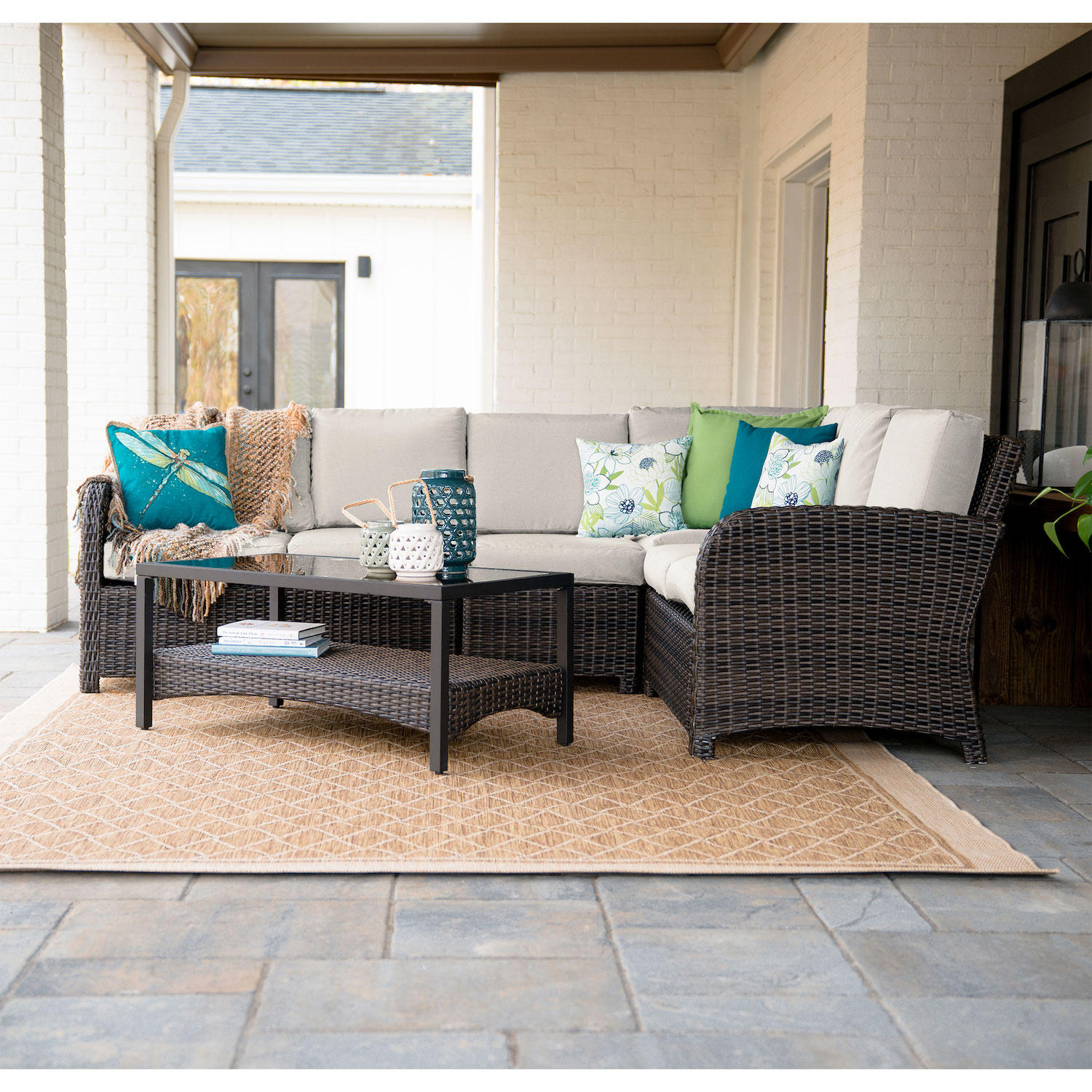 Perry 5-Piece Outdoor Patio Sectional Sofa With Sunbrella Fabric