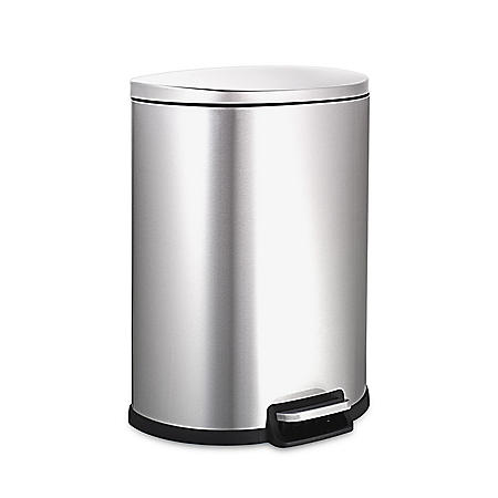 Nine Stars 13.2g Step-On Trash Can, Stainless Steel (SOT-50-3)