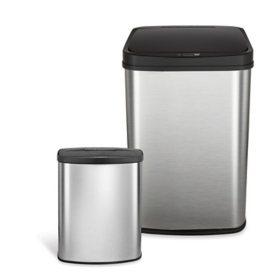 Nine Stars 13.2-Gallon/2.1-Gallon Motion Sensor Trash Can Combo, Stainless Steel