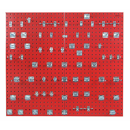 """24""""x 42-1/2"""" LocBoard Pegboard 2-Pack with 63 Hooks (Red)"""