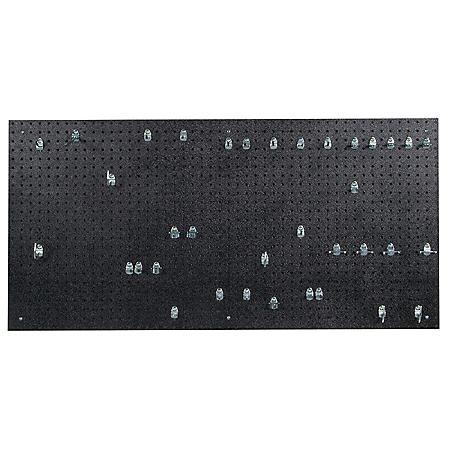 "24"" x 48"" x 3/16"" DuraBoard Pegboard with 36 Hooks (Black)"