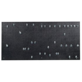 "24"" x 48"" x 3/16"" DuraBoard Pegboard with 36 Hooks (Black)"