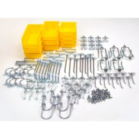 95 Piece Pegboard Kit w/ 85 Hooks and 10 Bins