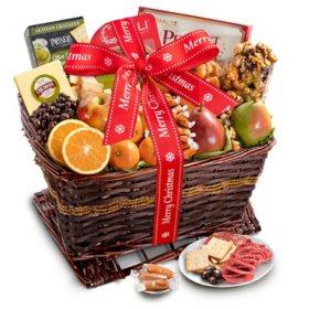 Merry Christmas Gourmet Abundance Gift Basket