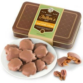 Happy Father's Day Chocolate Caramel Pecan Clusters in Gift Tin