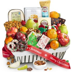 Holiday Fruit & Gourmet Snacks in Wire Gift Basket