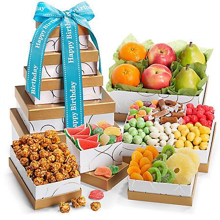 Spring Fruit And Sweets Gourmet Gift Tower With Happy Birthday Ribbon
