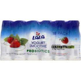 LALA Yogurt Wild Strawberry Smoothie with Probiotics, Single Serve Bottles (18 ct.)