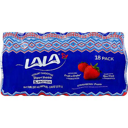 LALA Yogurt Wild Strawberry Smoothie with Probiotics (7 fl. oz. bottle, 18 ct.)
