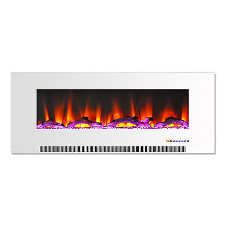 "Cambridge 50"" Wall-Mount Electric Fireplace with Multi-Color Flames and Driftwood Log Display"
