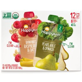 Happy Baby Clearly Crafted Multi-pack Organic Baby Food (4 oz., 12 pk.)