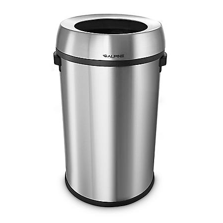Alpine Industries 17-Gallon Stainless Steel Open Top Trash Can