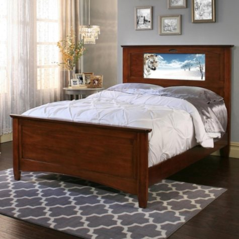 LightHeaded Beds Canterbury Full Bed with Changeable Backlit Headboard Graphics (Assorted Colors)