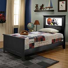 LightHeaded Beds Shaker Twin Bed with Changeable Backlit LED Headboard Imagery (Assorted Colors)