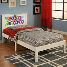 LightHeaded Beds Montgomery Twin Bed with Changeable Back-Lit LED Headboard Imagery (Various Colors)