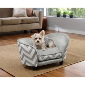 Enchanted Home Pet Ultra Plush Snuggle Pet Bed, Grey Chevron, Small Dogs Up To 10 lbs