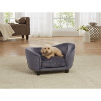 Enchanted Home Pet Ultra Plush Snuggle Sofa Bed, Dark Grey, Small Dogs Up To 10 lbs