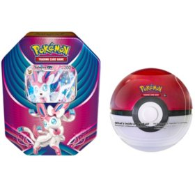 Evolution Celebration Tin (Sylveon-GX) with 1 of 6 random Surprise Pokemon Ball Tins
