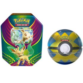Pokémon TCG: Evolution Celebration Tin (Leafeon-GX) and  1 of 6 random Surprise Pokemon Ball Tins