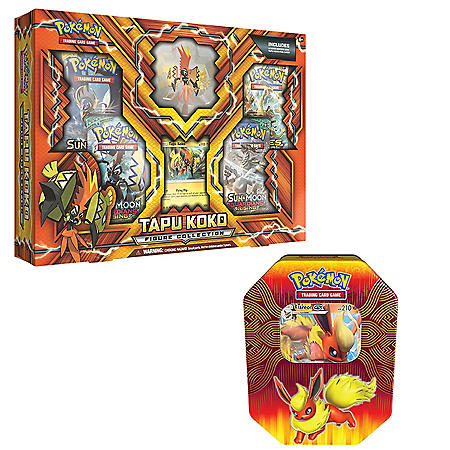 Pokémon TCG: Tapu Koko Figure Box and Flareon Elemental Powers Tin