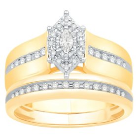 0.33 CT. T.W. Marquise Shape Bridal Set in 14K Two-Tone Gold