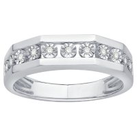 0.11 CT. T.W. Men's Diamond Ring in 14K White Gold