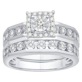 0.26 CT. T.W. Princess Shape Diamond Bridal Set in 14K White Gold