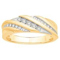 0.13 CT. T.W. Men's Diamond Wedding Band in 14K Two-Tone Gold