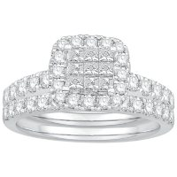 1.17 CT. T.W. Princess Halo Diamond Bridal Set in 14K White Gold