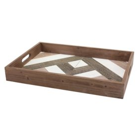 Decorative Geometric Wooden Serving Tray