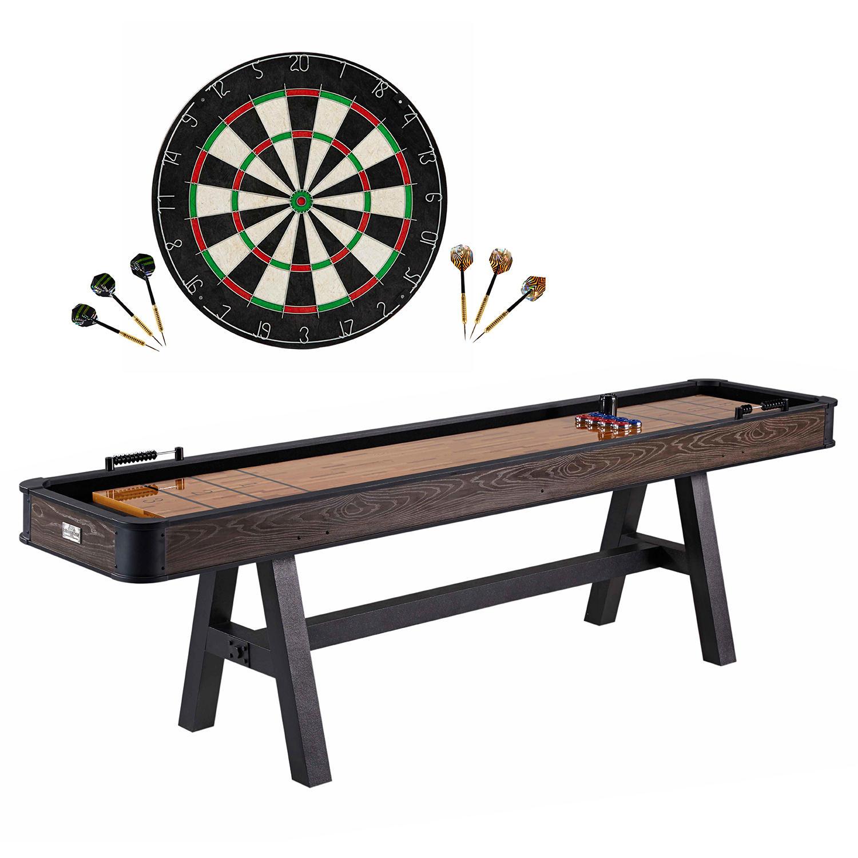MD Sports 108″ Shuffleboard Table with Dartboard Set