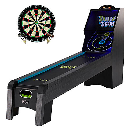 """Hall of Games 108"""" Roll & Score Table with LED Lights and Bonus Dartboard"""