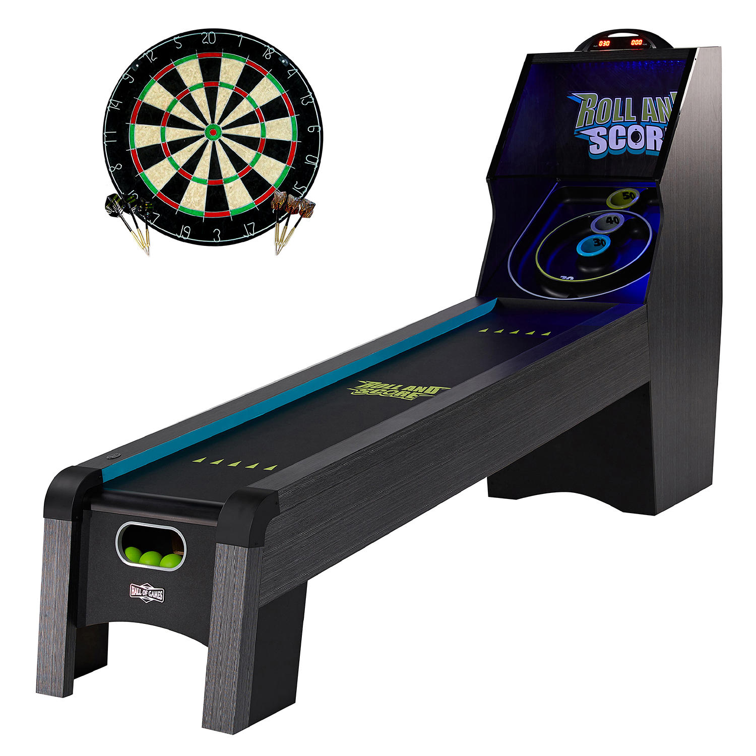 MD Sports Hall of Games 108″ Roll & Score Table with LED Lights and Bonus Dartboard