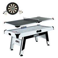 "ESPN 72"" Air Powered Hockey and Table Tennis Top with Bonus Dartboard Set"