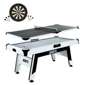 "ESPN 72"" Air Powered Hockey and Table Tennis Top with Bonus Dartboard Set"