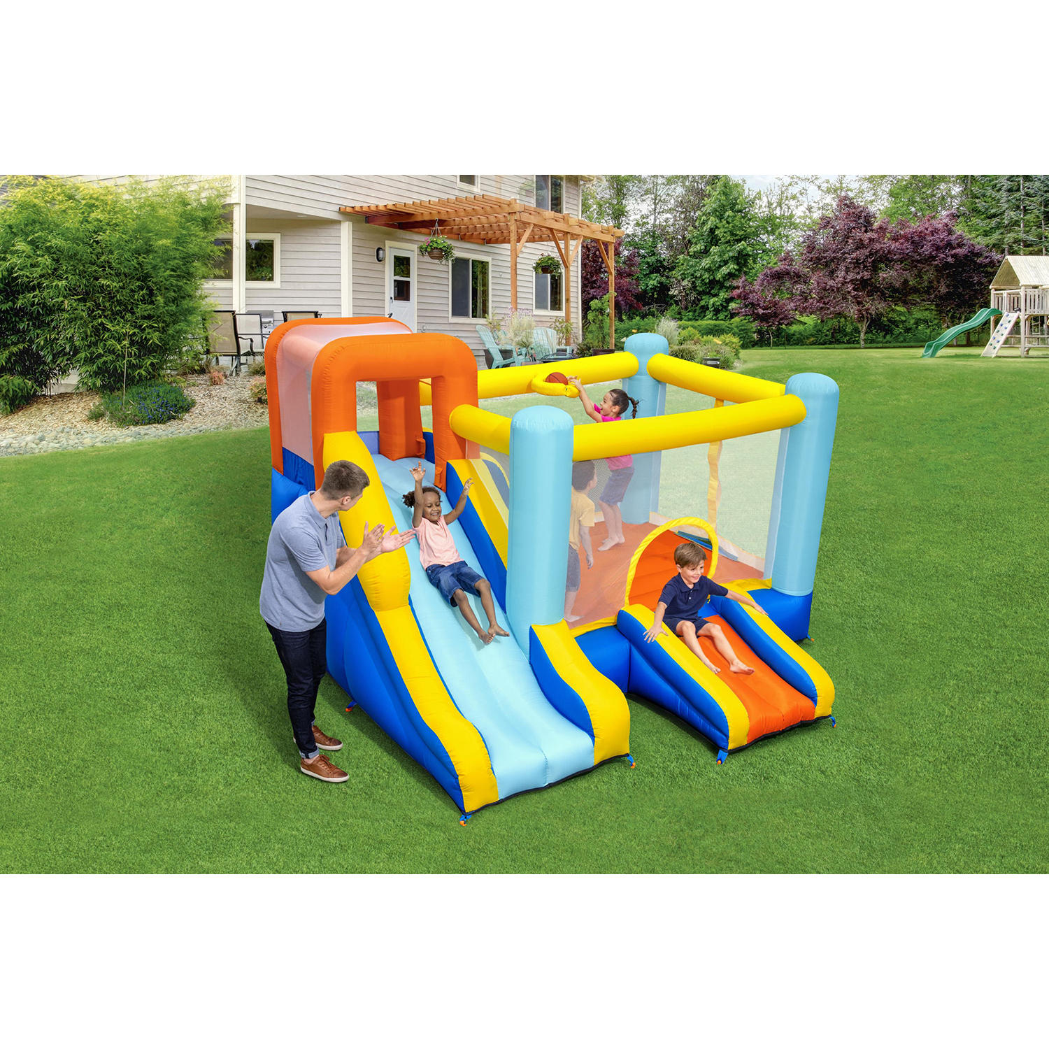 Wonder Hoops 10′ Inflatable Bounce House Park with Basketball and Slide