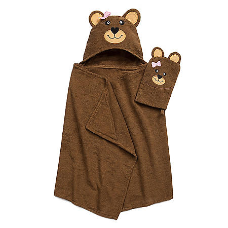 Tub Time Tots Hooded Kids Bath Wrap with Mitt, 2 Piece Set (Assorted Designs)