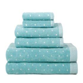 Raine Dot Pattern 6 Piece Bath Towel Set